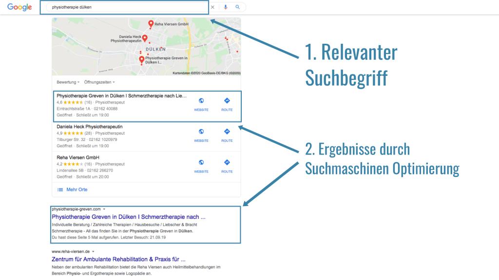 Kundenergebnis Google - Physiotherapie Greven Viersen