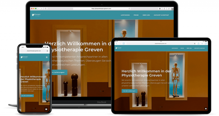 Webseite Projekt Physiotherapie Greven
